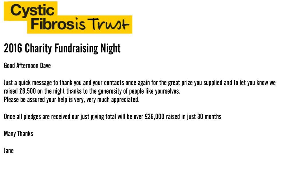 Raising money for Cystic Fibrosis